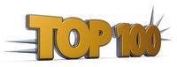 top 100 - schrift mit stacheln - 3d rendering