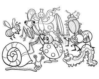 cartoon insects animal characters coloring book
