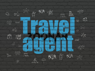 Travel concept: Travel Agent on wall background