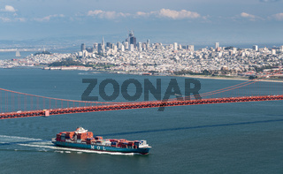 MOL Guardian Container ship entering San Francisco Bay under Golden Gate Bridge