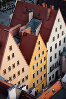Historic houses with triangular top in Old Town of Wroclaw