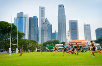 Amateur rugby match. Singapore downtown