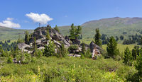 Pile of boulders on the slope of Altai Krai mountains.