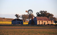 Farm outbuildings in late afternoon light