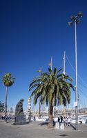 urban marina promenade in port vell area of barcelona spain
