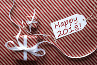 Two Gifts With Label, Text Happy 2018