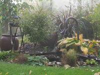 Herbstlicher Garten im Nebel