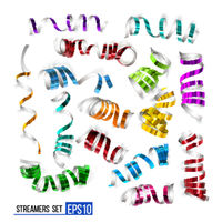 Festive colorful ribbons on white