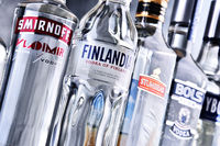 Bottles of several global brands of vodka
