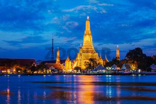 Wat Arun temple in Bangkok, Thailand in the night