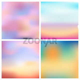 Abstract vector multicolored blurred background set 4 colors set. Square blurred backgrounds set - sky clouds sea ocean beach colors