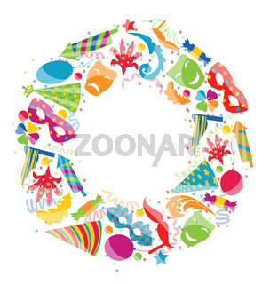 Festive round frame with carnival colorful objects, copy space f
