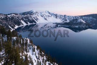 North Rim Winter Sky Sunst Mount Scott Crater Lake Oregon