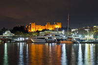 Rhodes, Port night view of Palace of the Grand Master of the Knights, Greece