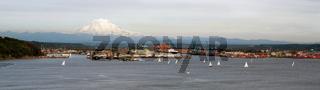 Sailboat Regatta Commencement Bay Port of Tacoma Mt Rainier