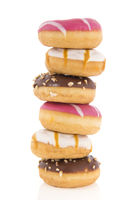 Donuts in pink, white and chocolate