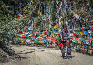 Man cycle touring in Yunnan