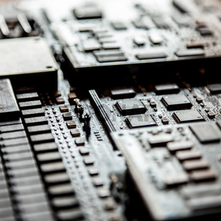Close up of electronic circuit board.