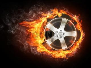 Car Wheel in Flame