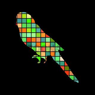 Parrot budgerigar bird mosaic color silhouette animal background