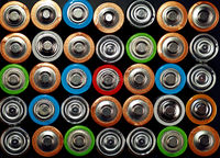 Close up background of various alkaline batteries