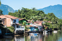 View of the canal and the colonial houses of the historic town Paraty, Rio de Janeiro state, Brazil