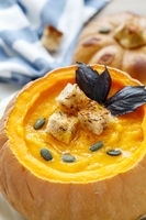 Pumpkin soup with croutons.