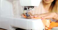 Close up shot of sewing machine