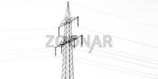 Strommast vor weißem Hintergrund