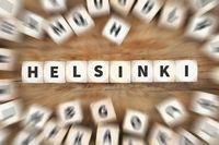 Helsinki Finnland Stadt Reise Reisen Würfel Business Konzept