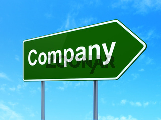 Business concept: Company on road sign background