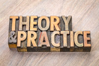 theory and practice word abstract in wood type