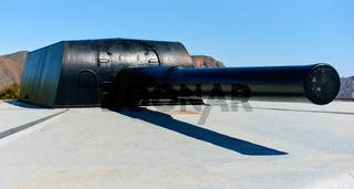 Castillitos Battery. Massive guns that defended Cartagena Bay. Murcia. Spain