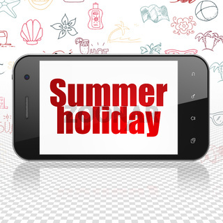 Travel concept: Smartphone with Summer Holiday on display