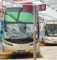 Bus parking at airport. Singapore