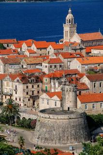 Close view of Korcula old town, Croatia