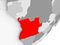 Angola in red on grey map