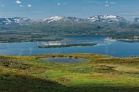 Mountains, fjord and lake in Tromso, Norway