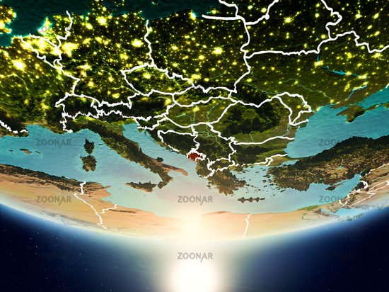 Montenegro with sun on planet Earth