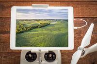 soy fields - aerial image on digital tablet