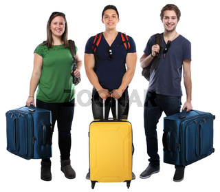 Gruppe junge Leute Menschen Urlaub Koffer Gepäck Reise reisen verreisen jung Freisteller isoliert freigestellt