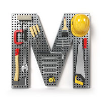 Letter M. Alphabet from the tools on the metal pegboard isolated on white.