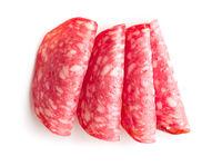 Slices of smoked salami sausage.