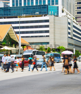 Busy Singapore people