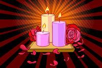 Romantic candles and rose petals