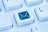 E-Mail Email Brief senden Internet Computer Tastatur blau