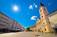 Town of Cakovec main square and church view