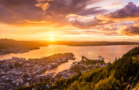 Amazing sunset view of City of Bergen from Floyen mountain. Norway.