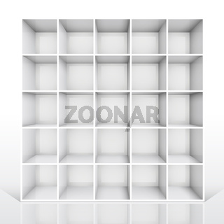 3d isolated Empty white bookshelf