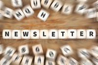 Newsletter senden Internet Marketing Kampagne Würfel Business Konzept